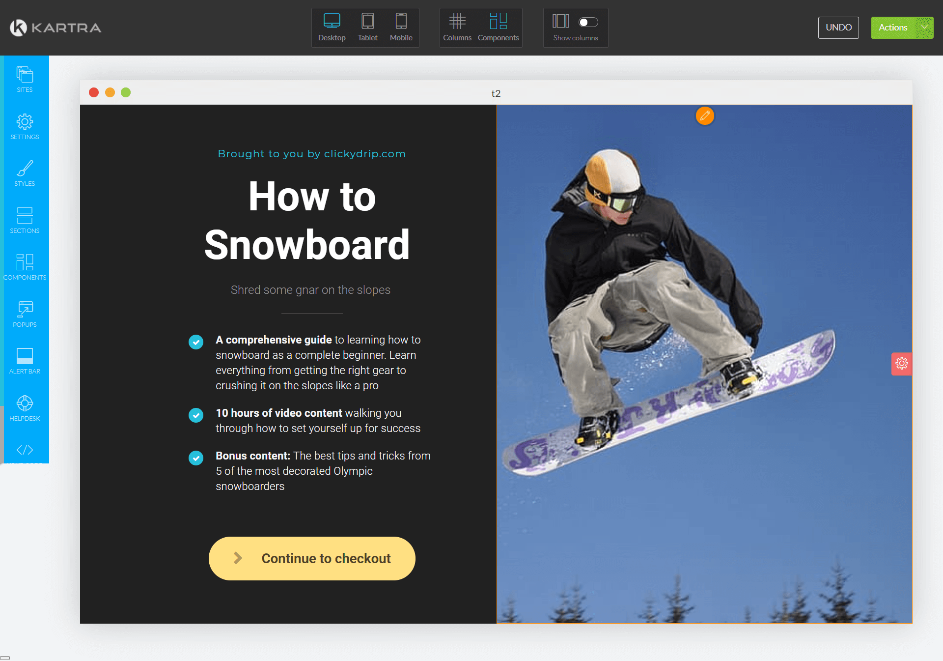 creating snowboarding course sales page in kartra