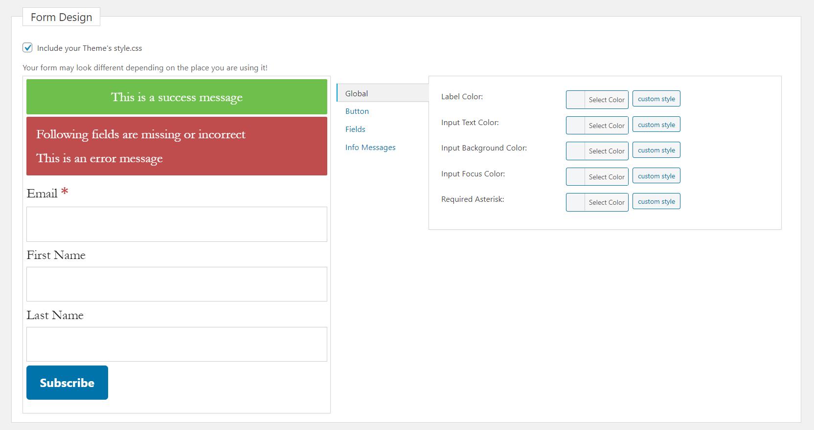 mailster form builder