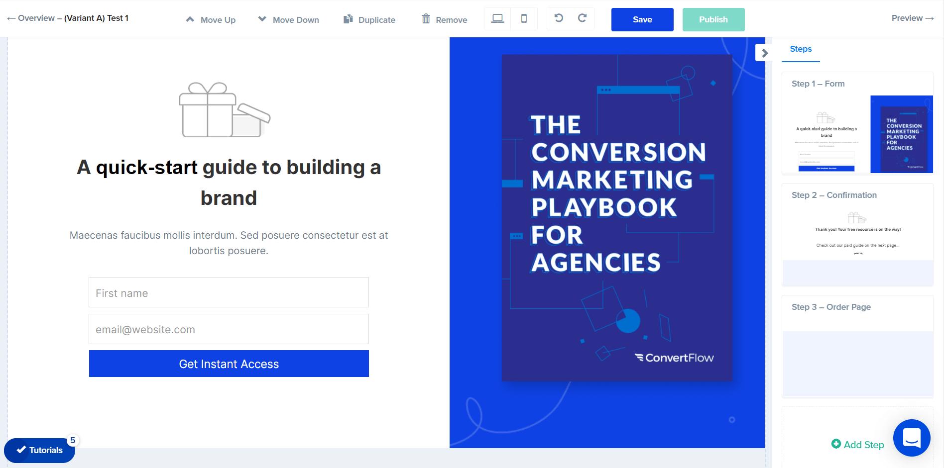 convertflow funnel editor