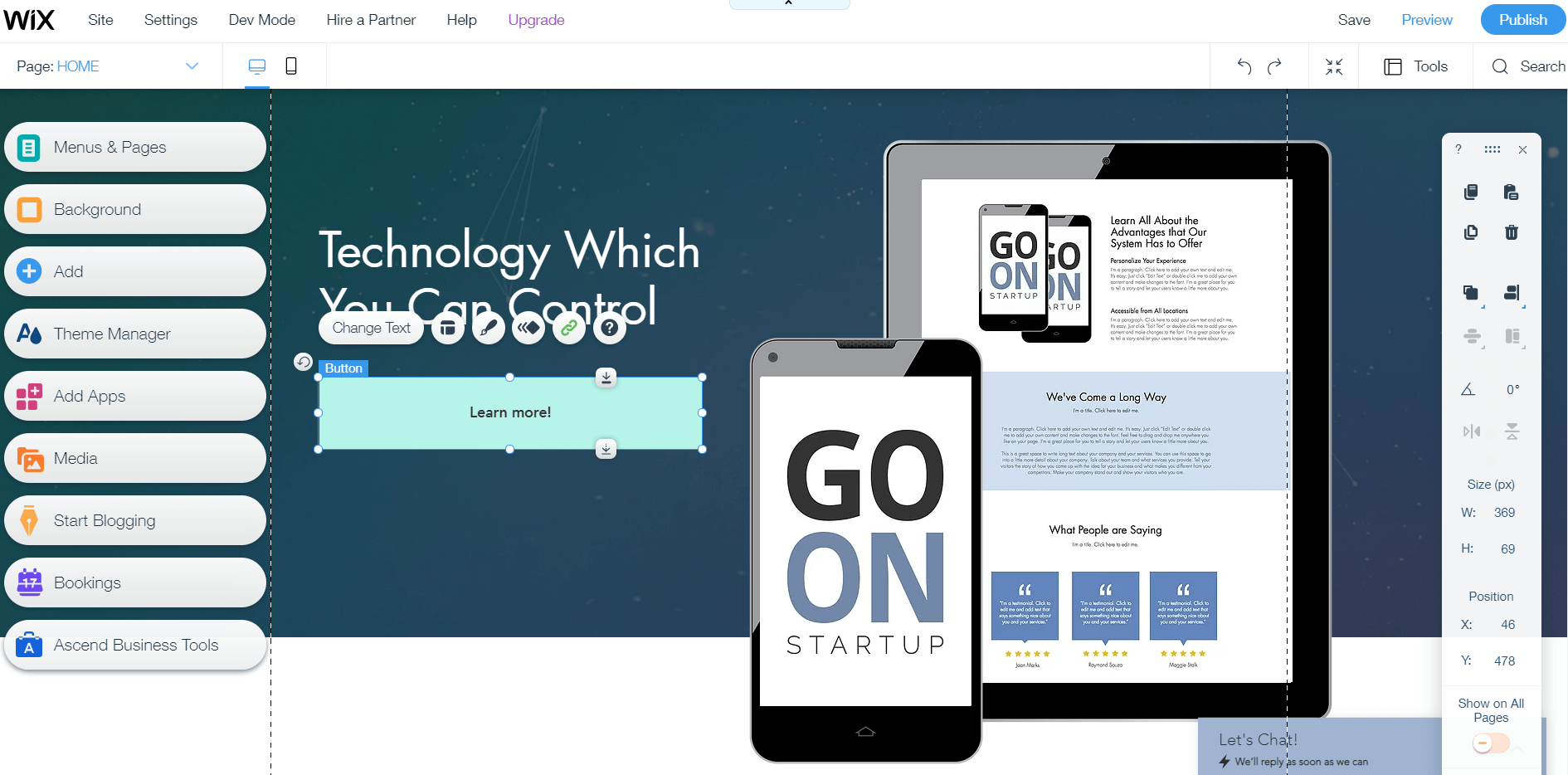 Wix page editor