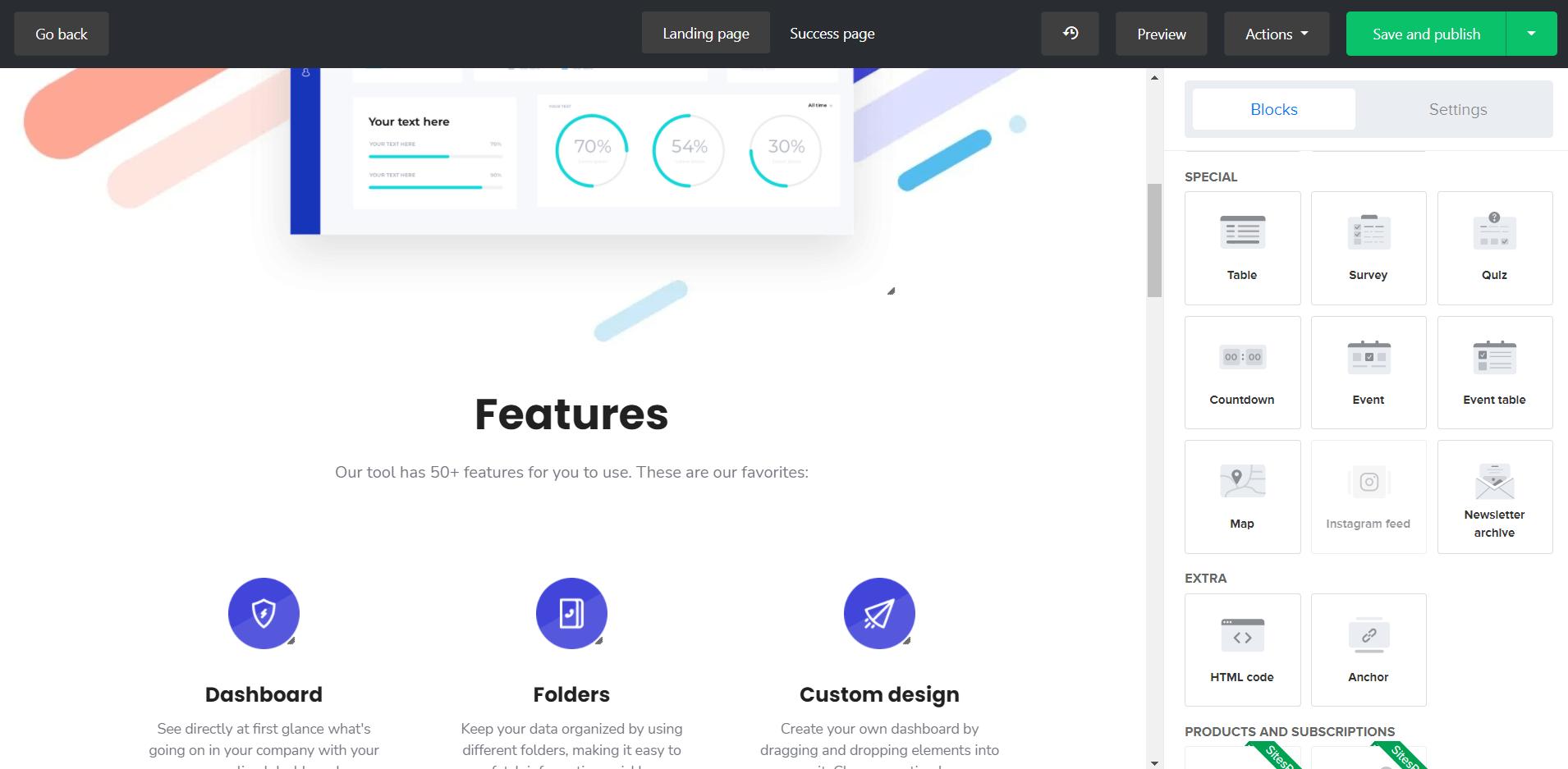mailerlite landing page builder editor