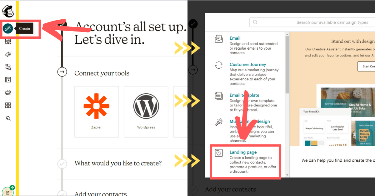 starting a new landing page in mailchimp dashboard