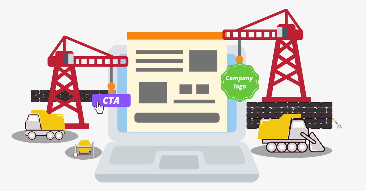 construction machinery building a landing page