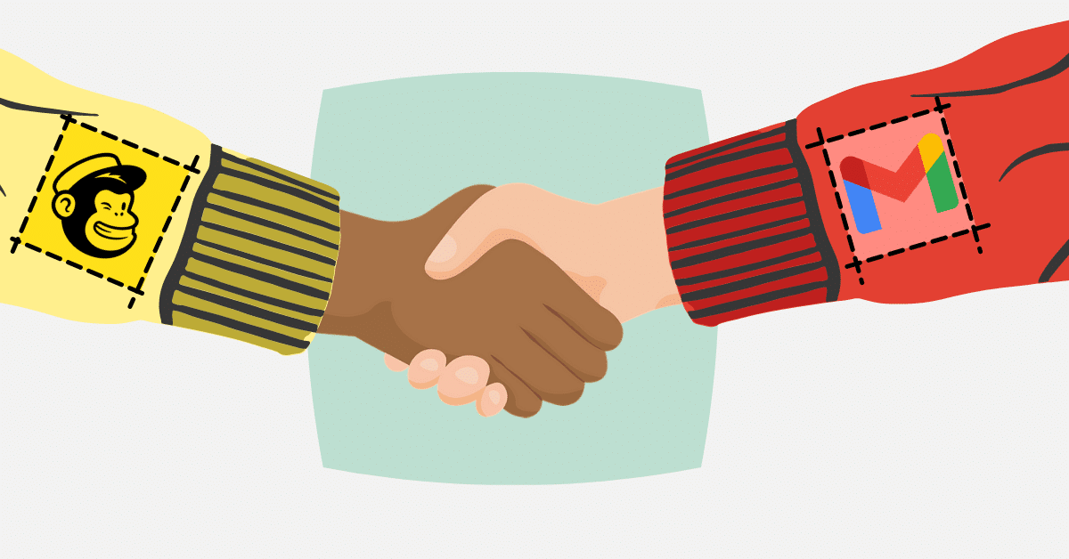 mailchimp person shaking hands with gmail person