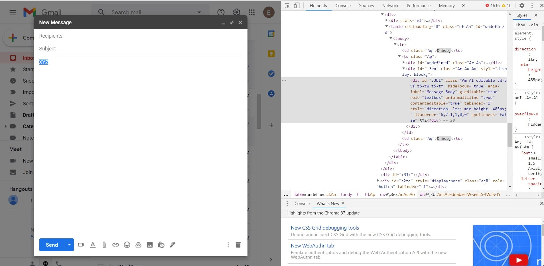 inserting html code in gmail email
