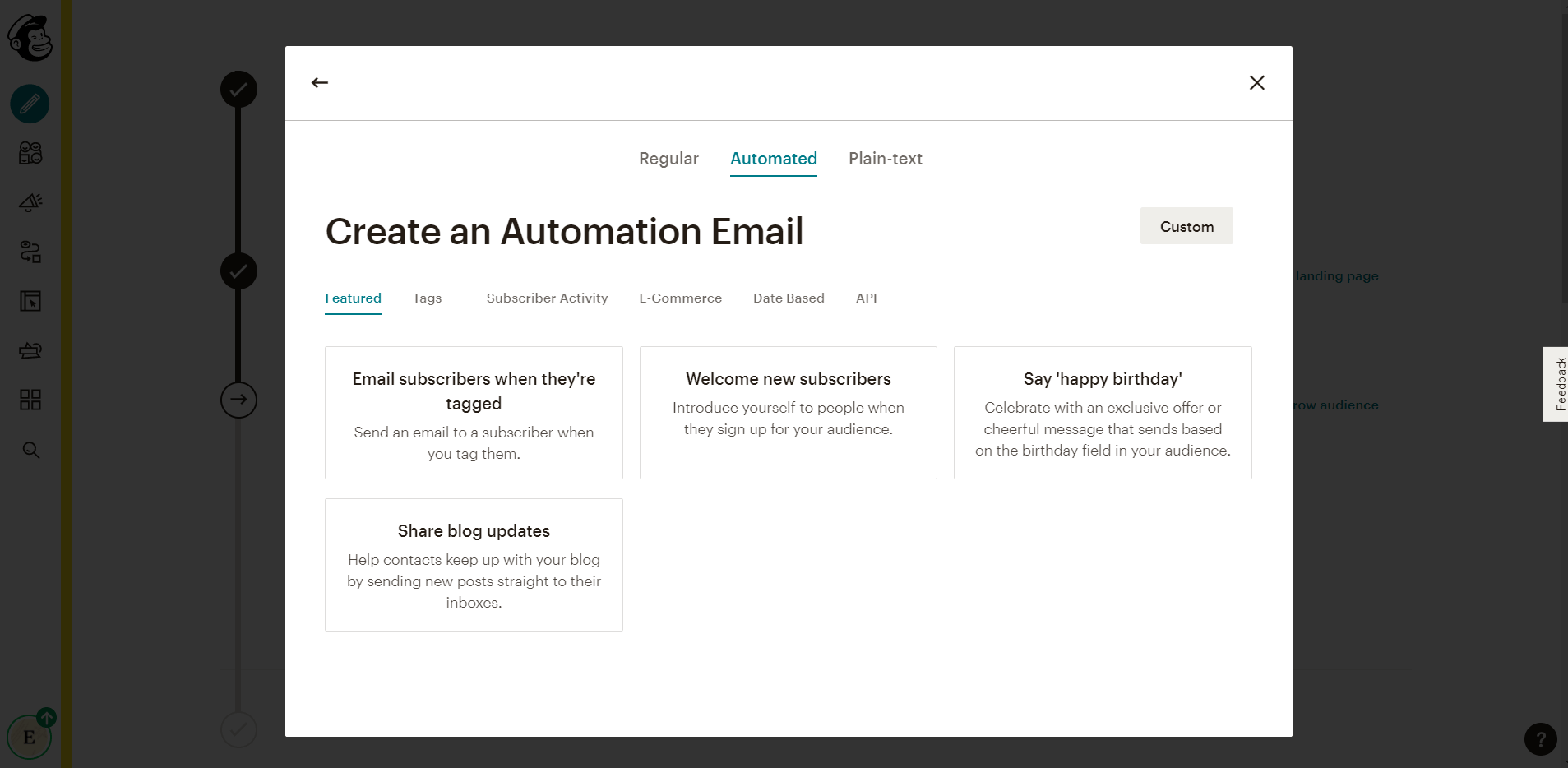 setting up automated mailchimp emial