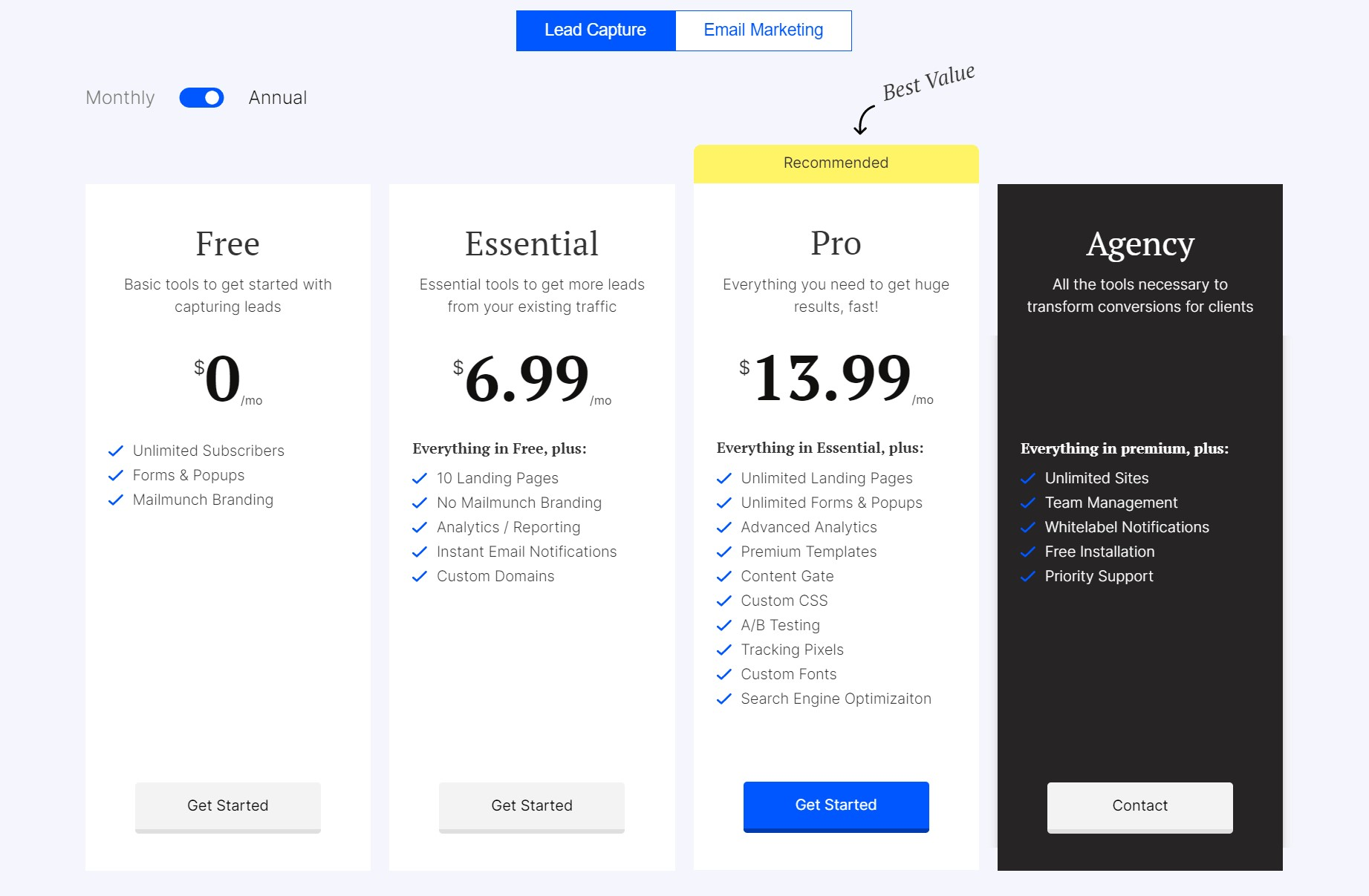 pricing on mailmunch site