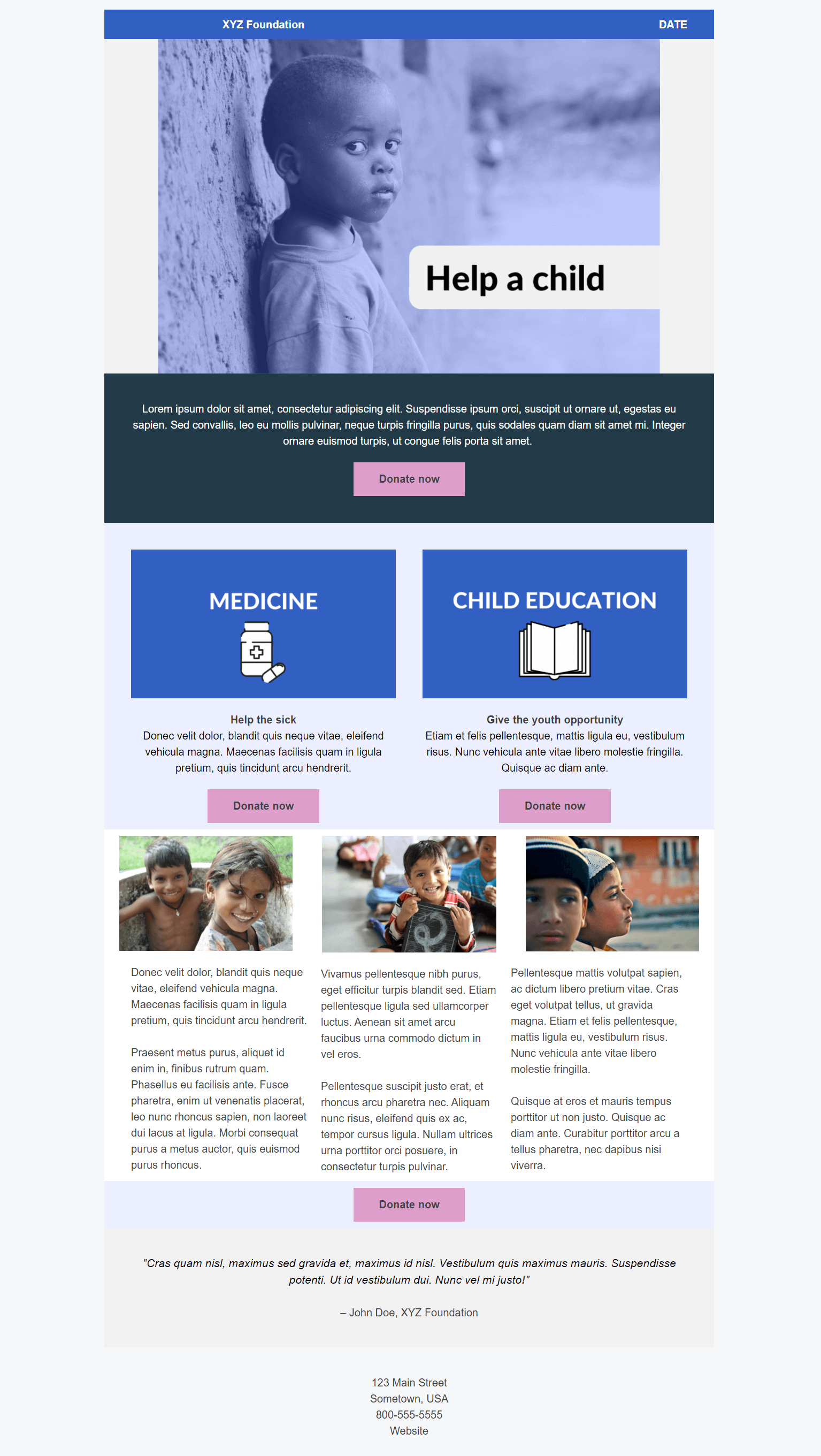 landing page for nonprofit
