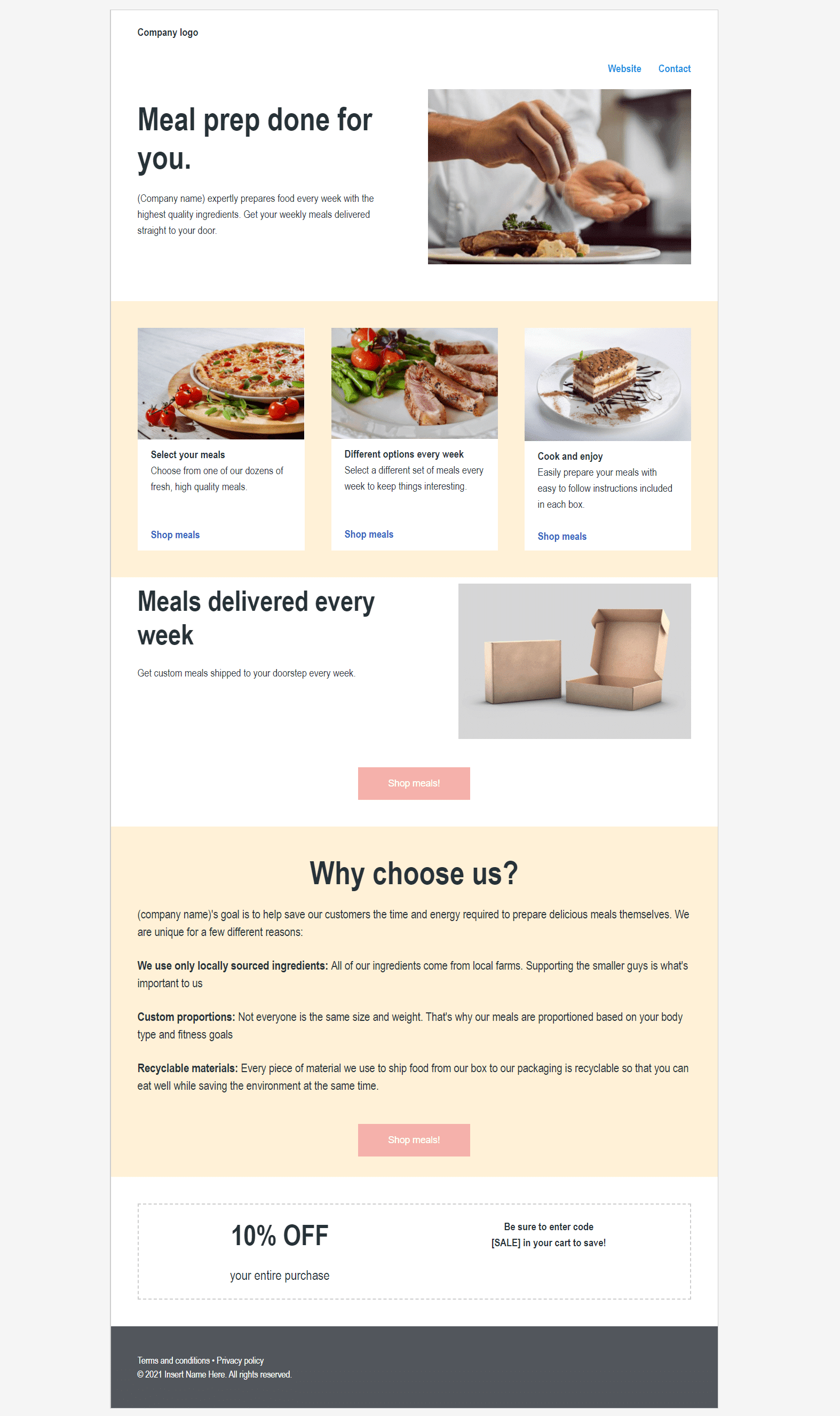 meal delivery landing page