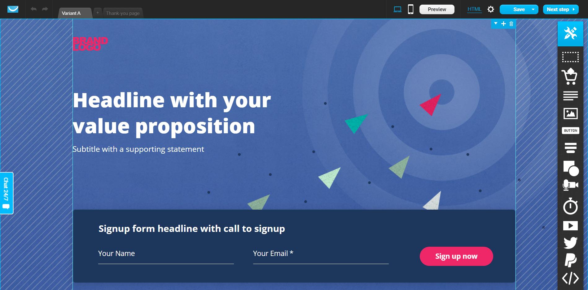 getresponse landing page editor dashboard