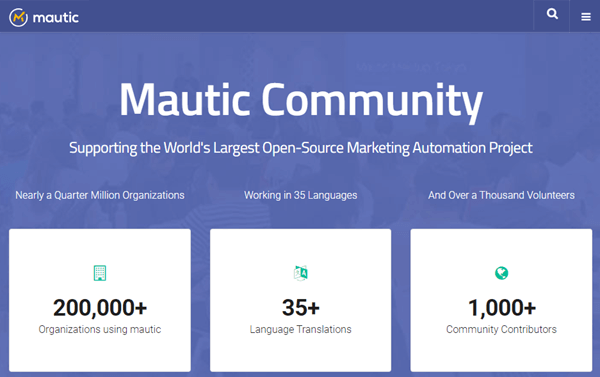 Mautic website home page