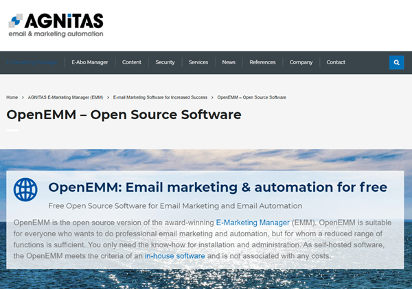 openEMM website home page
