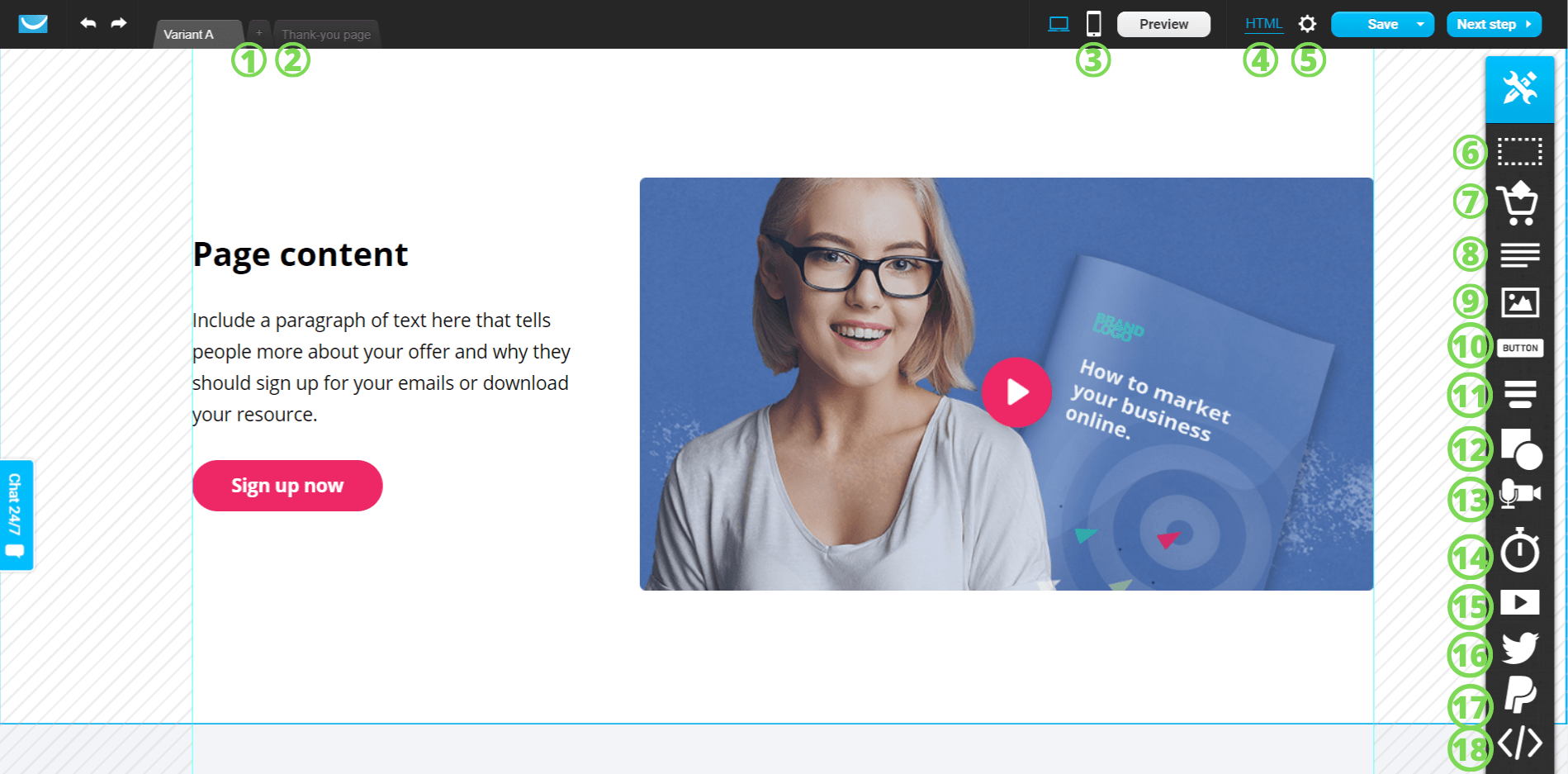Parts of the getresponse landing page editor