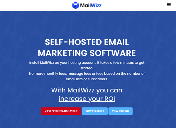 mailwizz website home page