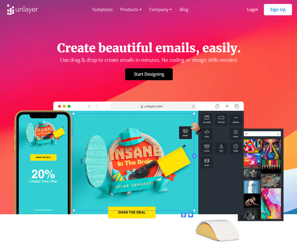 unlayer website home page