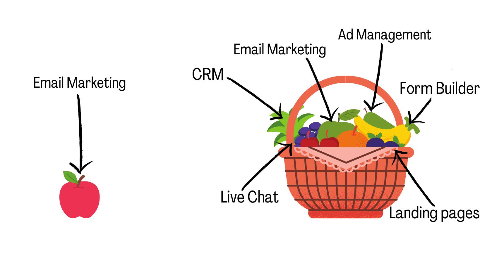 apple compared to fruit basket marketing tool analogy