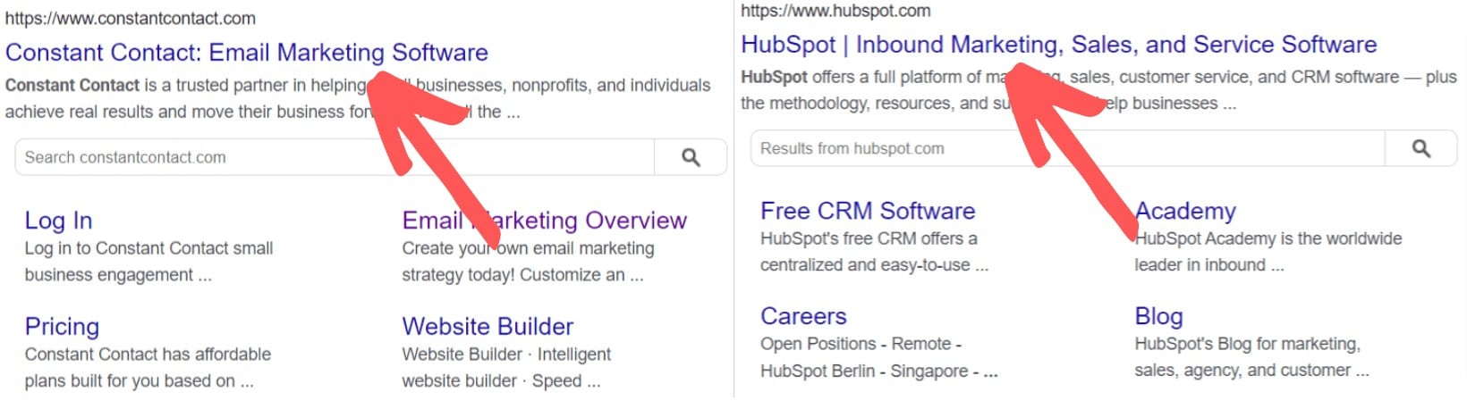hubspot and constant contact google search results