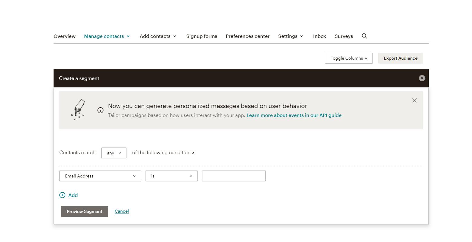 mailchimp segment