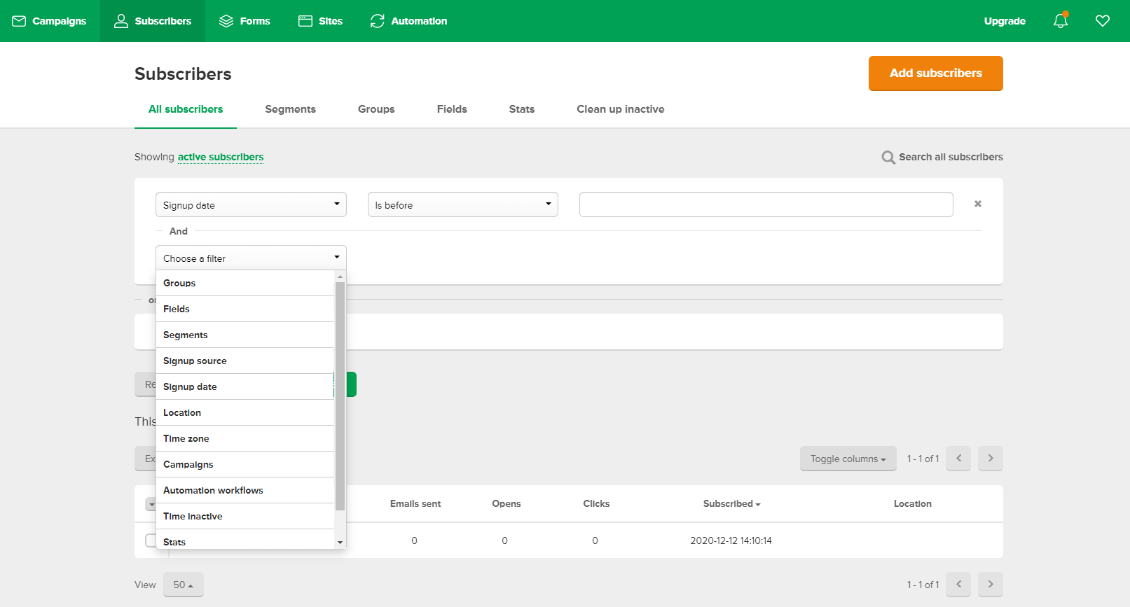 mailerlite list management