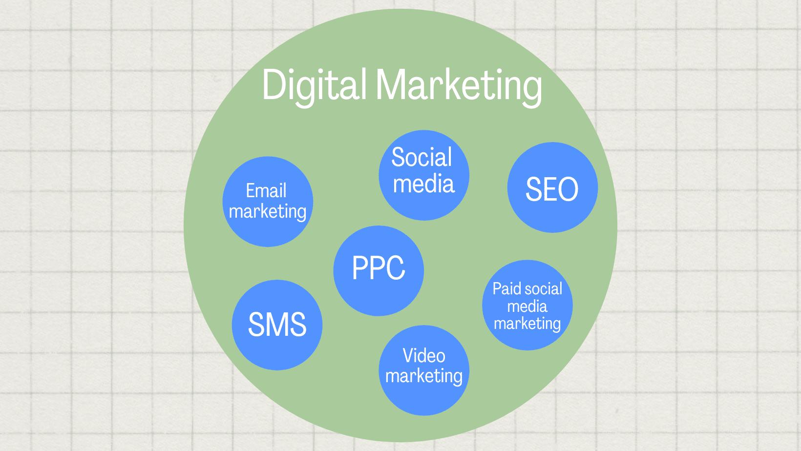 sms, ppc, email marketing, video marketing, paid social media marketing, SEO, social media all within digital marketing