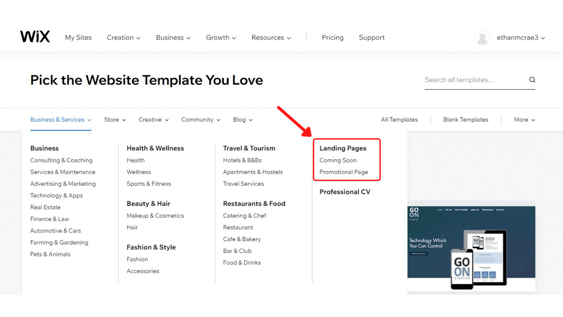 Wix landing page options