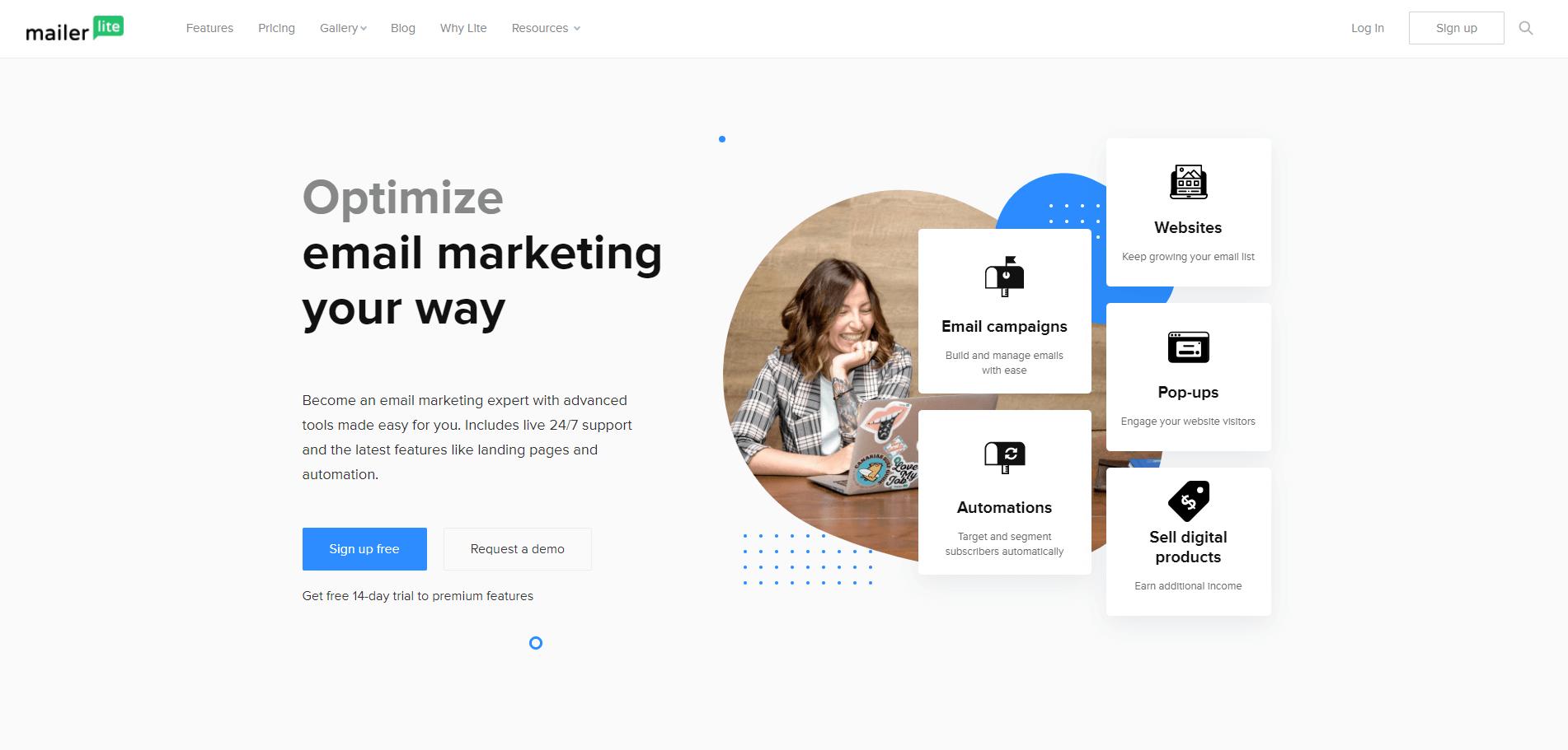 mailerlite home page