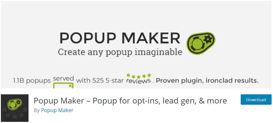 pop up maker on wordpress.org