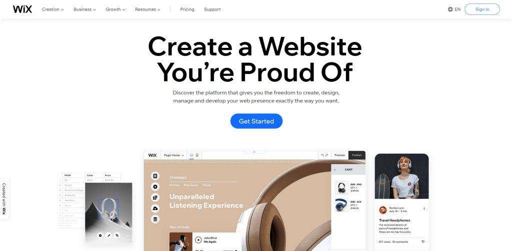 wix home page