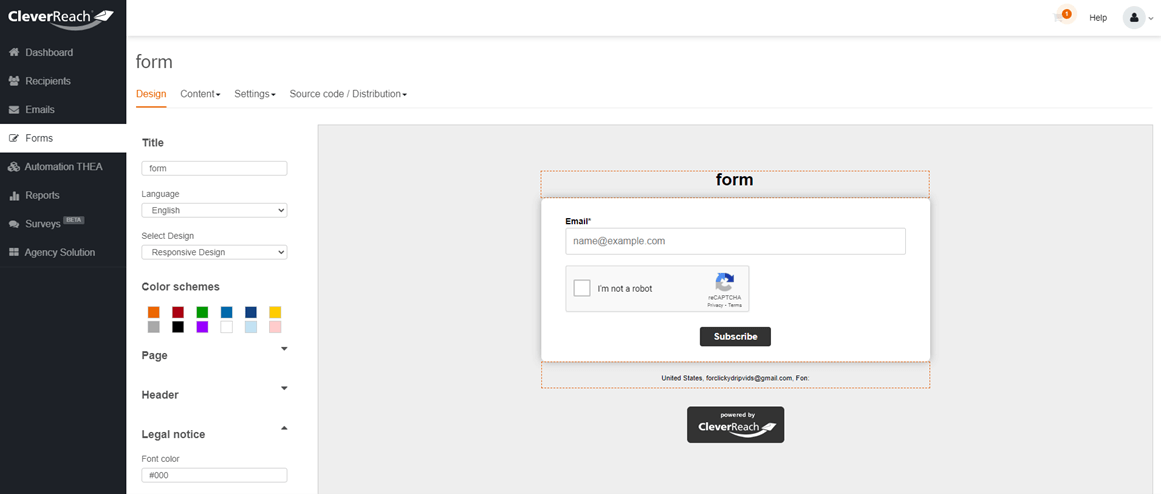 Cleverreach forms