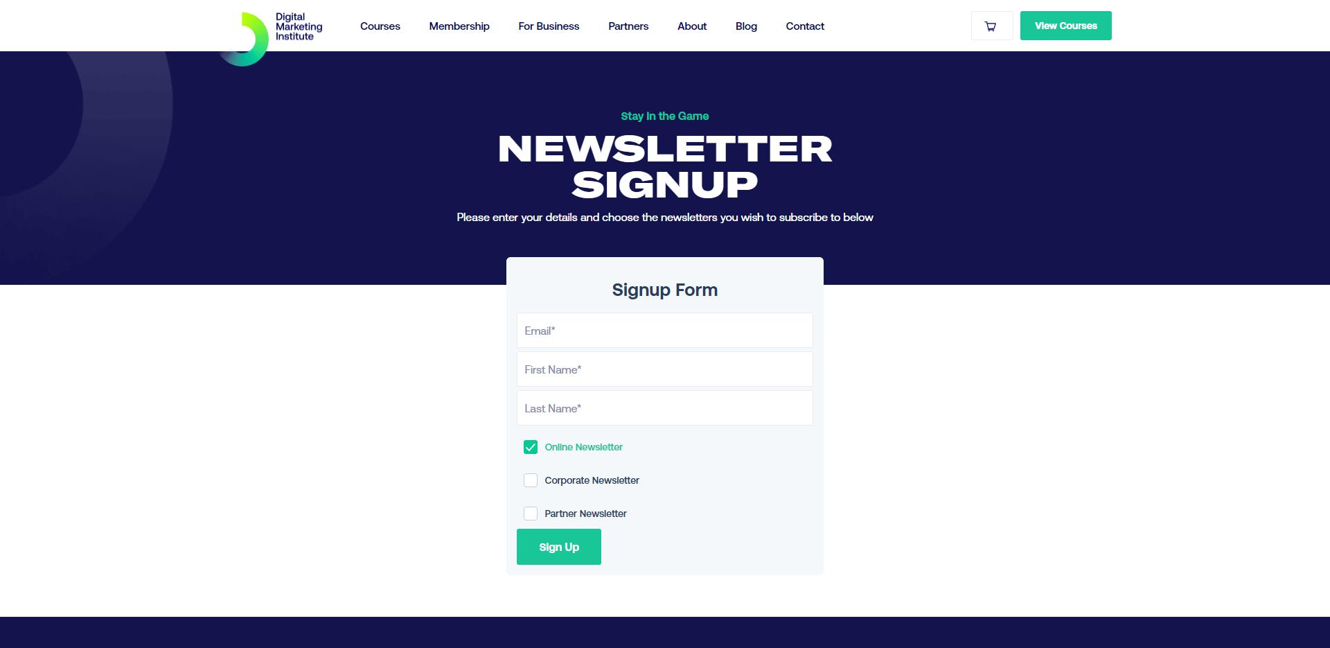 digital marketing institute newsletter