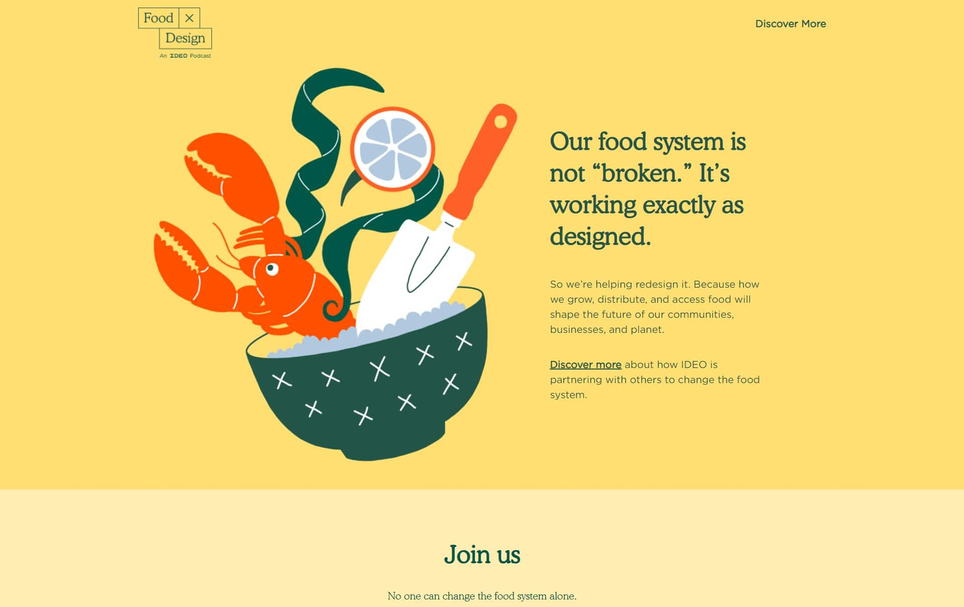 ideo food landing page