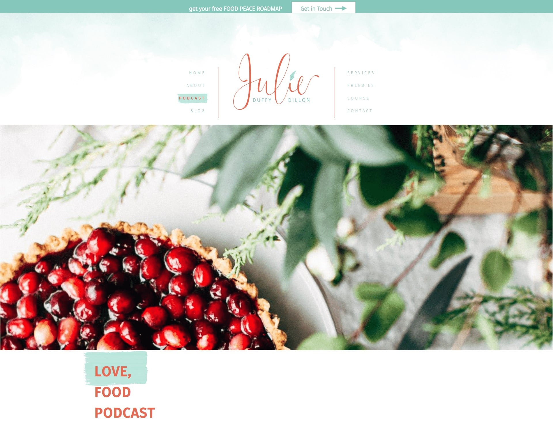love food podcast landing page