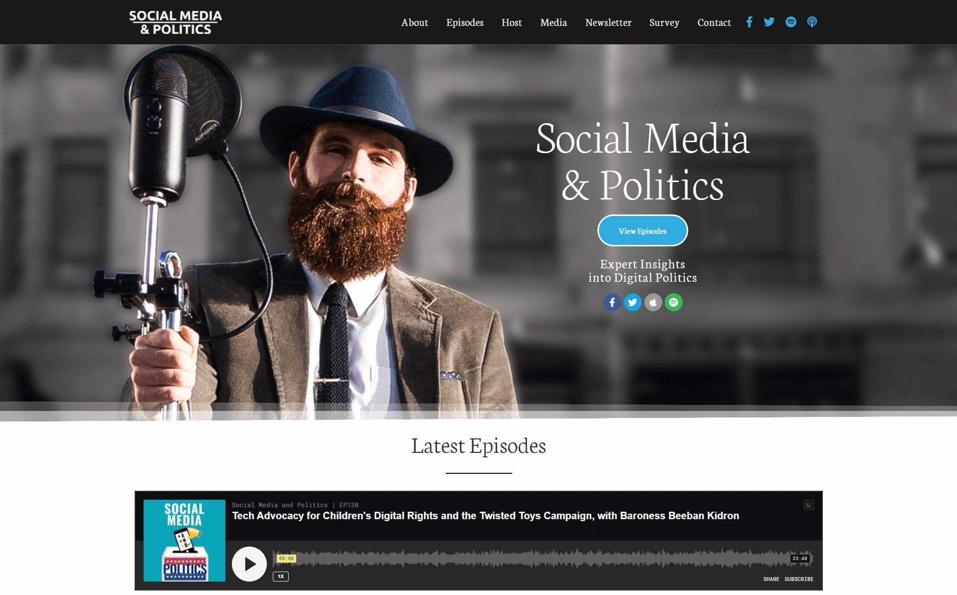 socia lmedia and politics landing page
