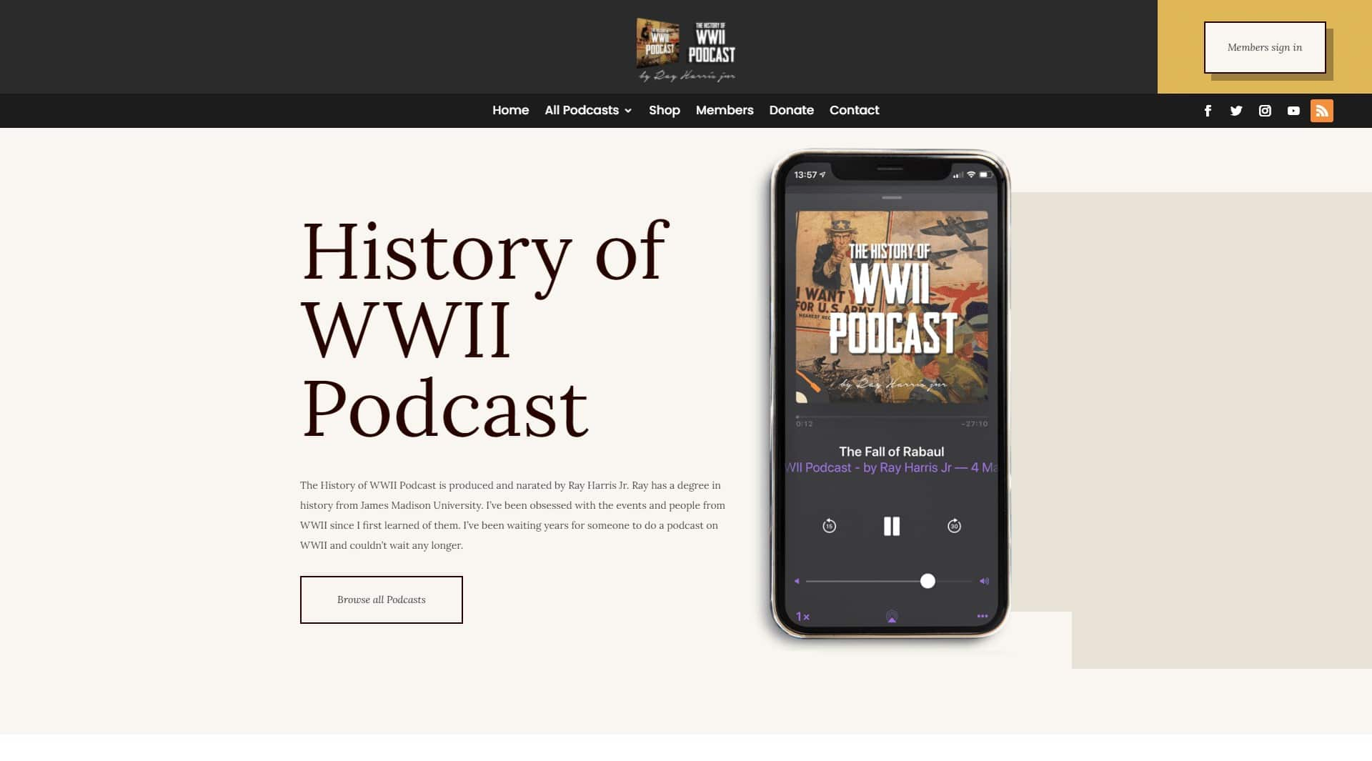 world war ii podcast landing page