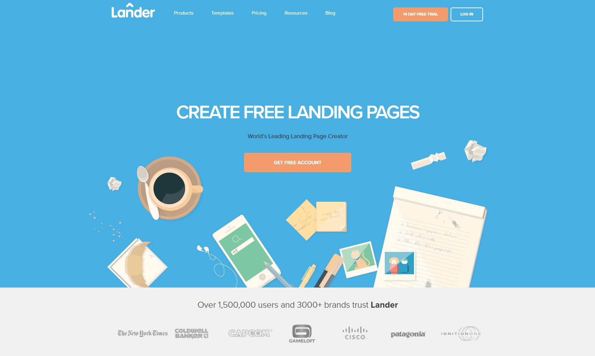 Lander App homepage