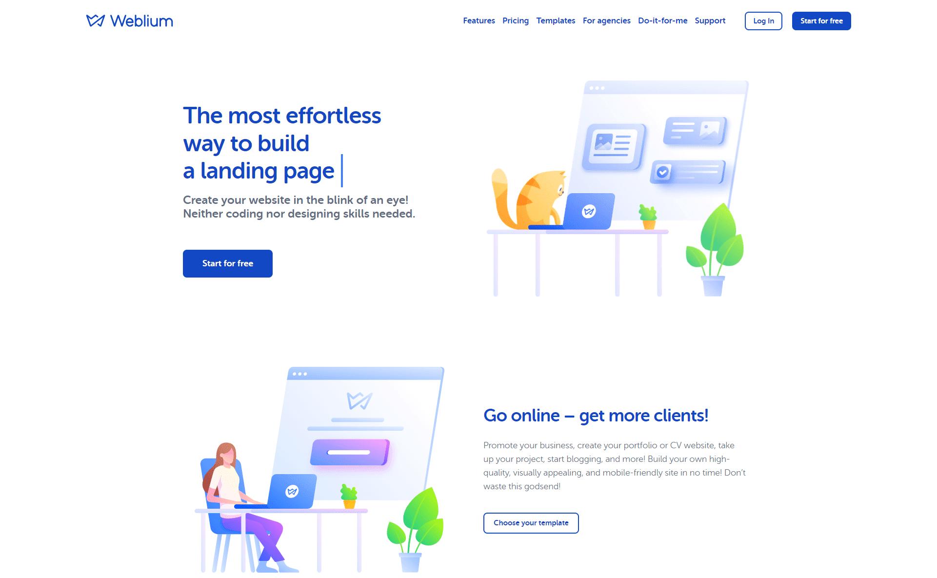 Weblium homepage