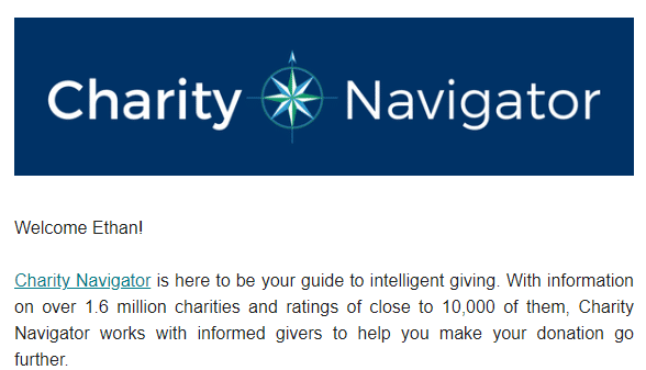 Charity Navigator welcome email