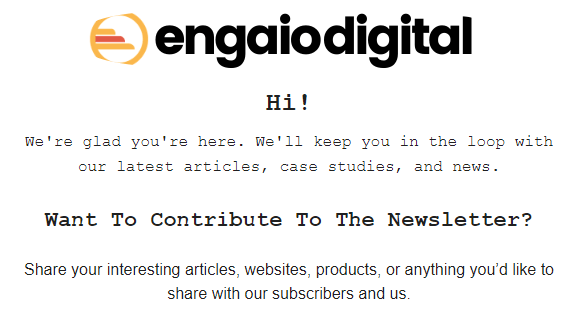 Engaio Digital welcome email