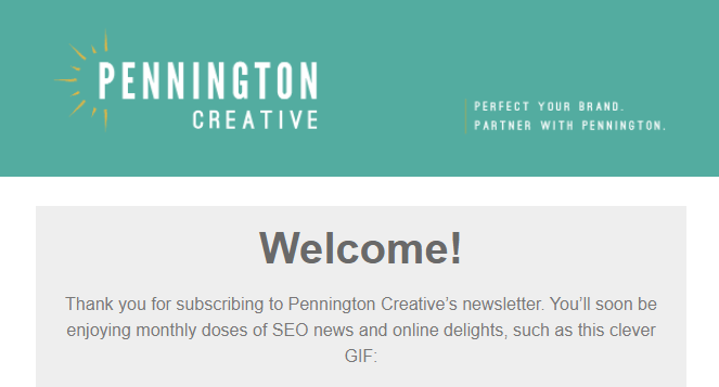 Pennington Creative welcome email