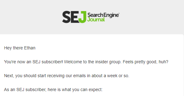 Search Engine Journal welcome email