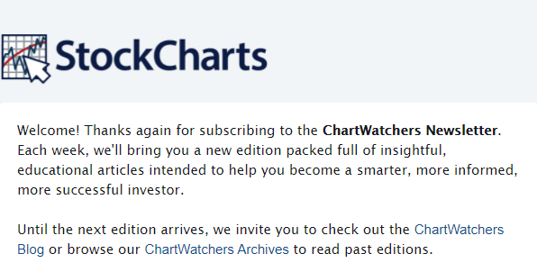 StockCharts welcome email