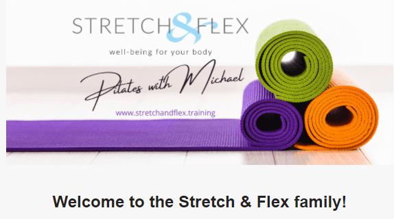 Stretch and Flex welcome email